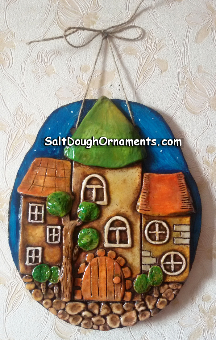 Salt dough fairy houses - wall decorative panel - front view