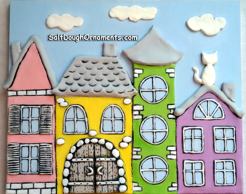 Fairy city - salt dough panel