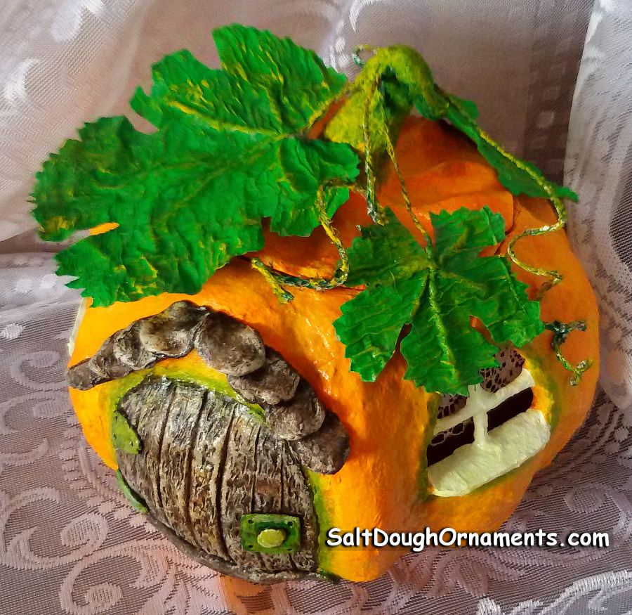 papier mache pumpkin house - top view