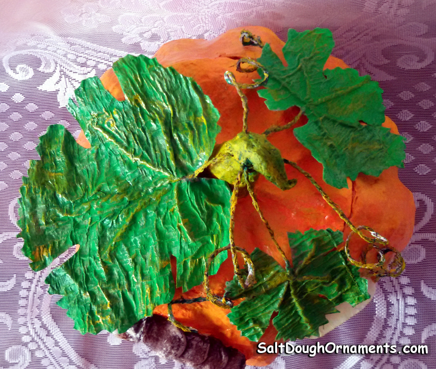 papier mache pumpkin house - leaves and tendrils