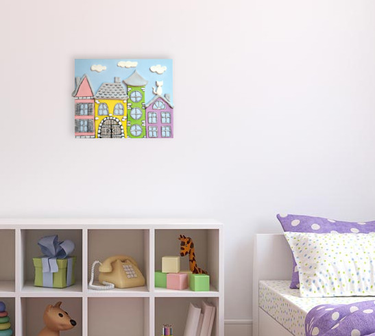 Wall Art for children's rooms with fairy city